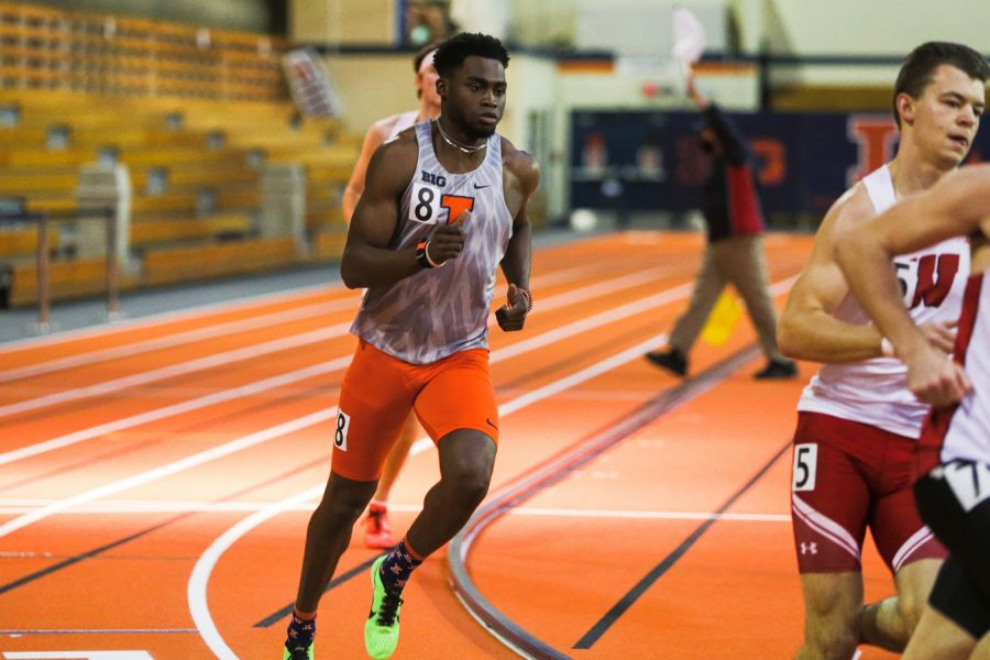 Sophomore Alexander Babbington competes in a running event during the Illini B1G Multi-Meet on Jan. 30.