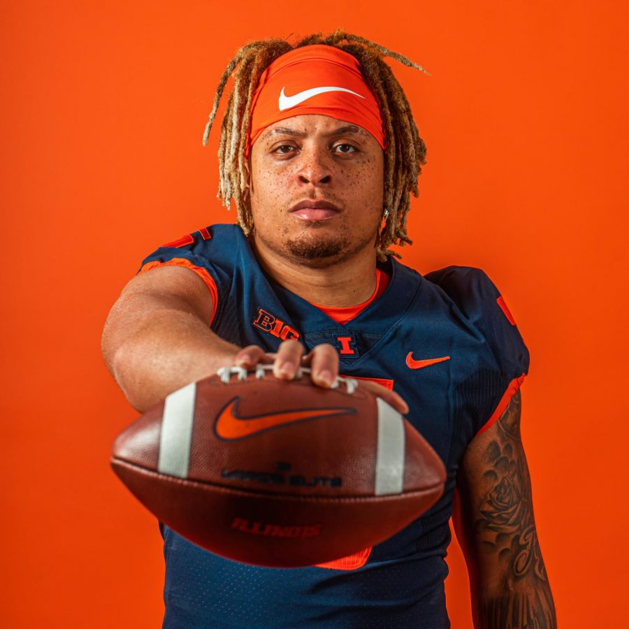 Calvin Hart Jr. poses for  a promotional photo for the Illinois Football team. Hart recently transferred to Illinois from NC State.