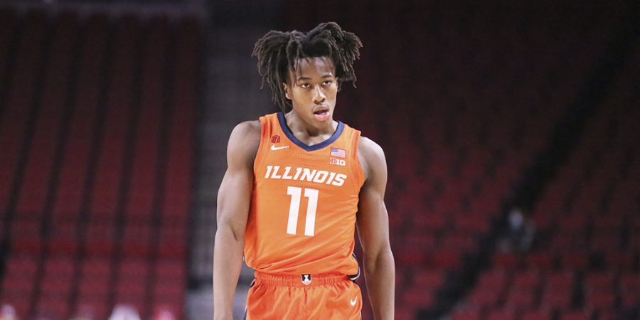 Ayo+Dosunmu+takes+the+floor+in+Illinois%27+win+against+Nebraska+on+Friday+night.