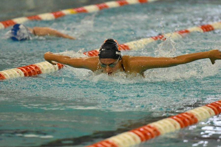 Senior+Jimena+Martinez+performs+the+butterfly+stroke+during+competition.+The+Illinois+swim+and+dive+team+will+travel+to+Madison%2C+Wisconsin+this+weekend+to+attend+a+tri-meet+against+Wisconsin+and+Northwestern