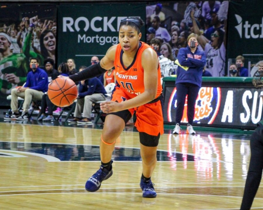 Sophomore guard Jeanae Terry presses forward during the game against Michigan State on Thursday. The Illini will face off against Purdue today at 2 p.m.