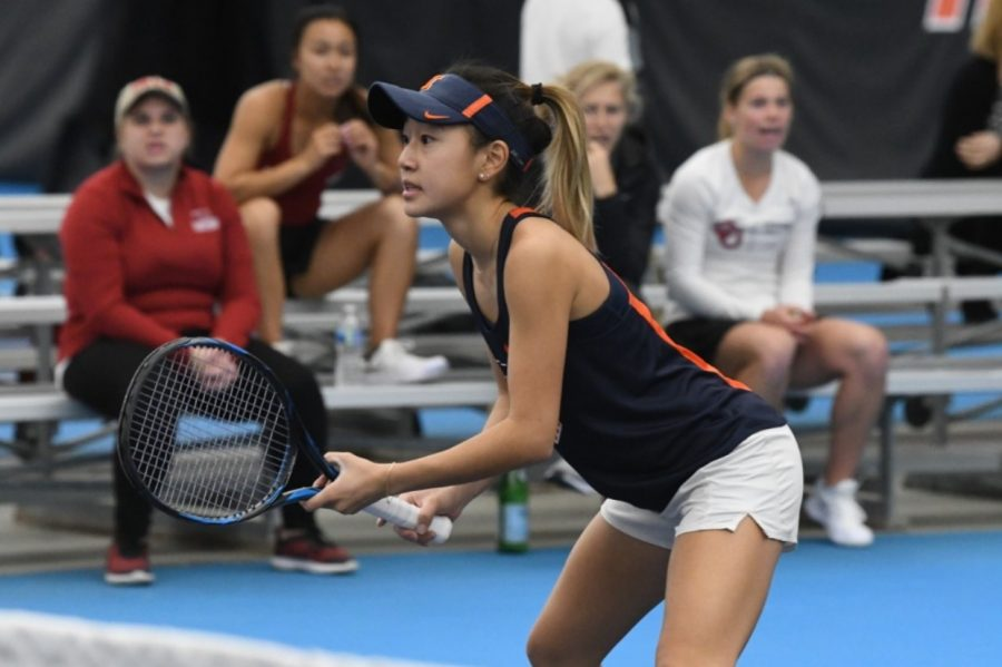 Senior+Emilee+Duong+competes+during+the+meet+against+Oklahoma+on+March+3%2C+2020.+The+Illini+fell+to+Nebraska+on+Sunday+by+a+score+of+5-2.