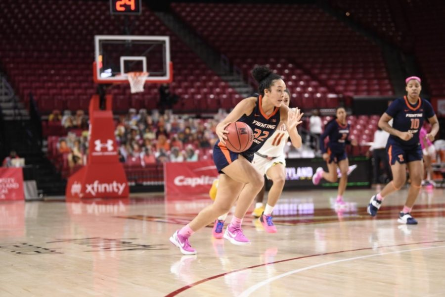 Freshman Aaliyah Nye pushes forward during the game against Maryland on Wednesday. The women's basketball team will face Rutgers today.