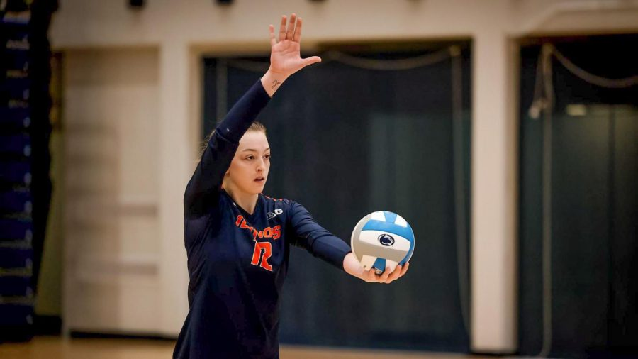 Freshman+Raina+Terry+winds+up+to+serve+the+ball+during+the+match+against+Penn+State+on+Saturday.+The+Illini+fell+to+the+Nittany+Lions+3-1+and+3-2+in+two+matches.