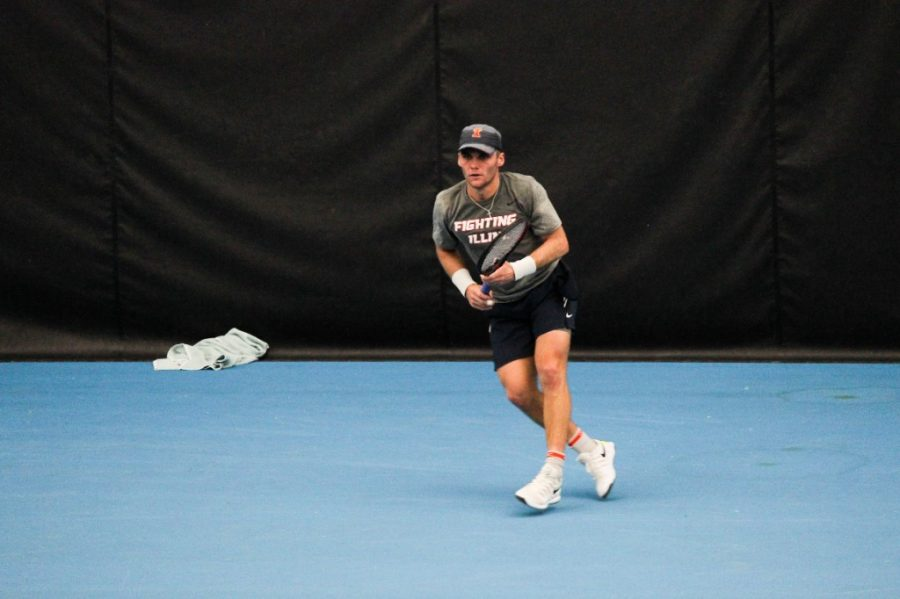 Senior Zeke Clark competes in the match against Virginia on Sunday. Clark is the Illini of the Week.