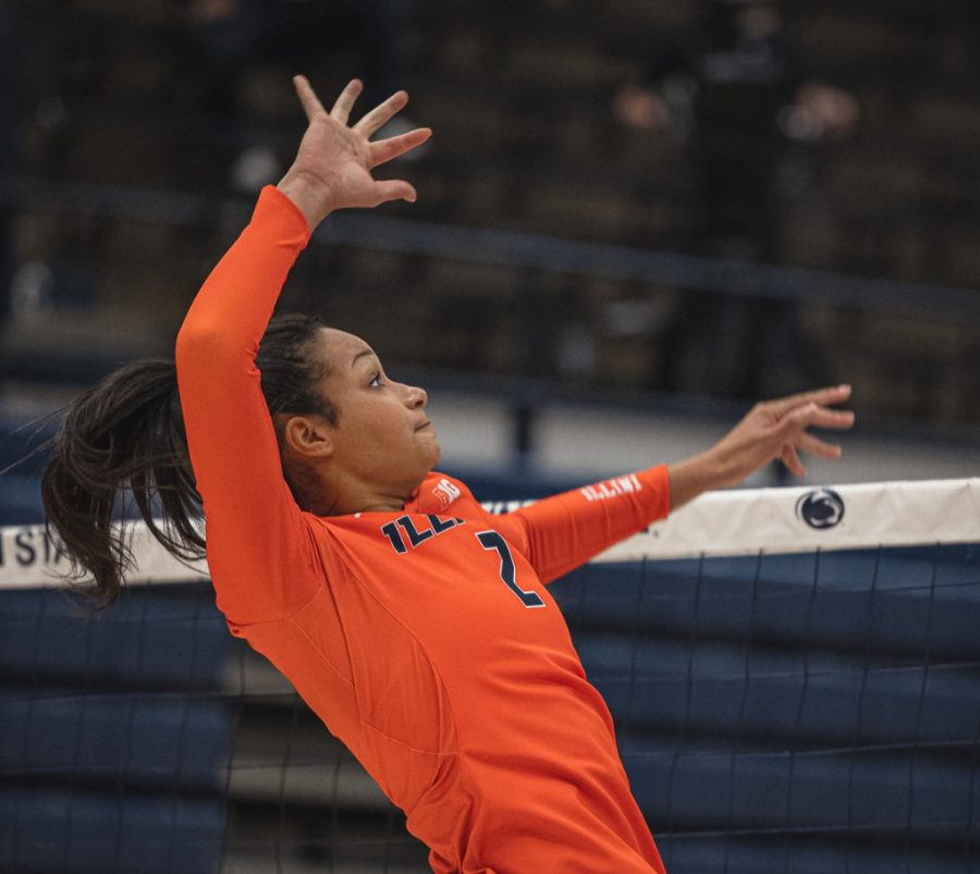 Sophomore+Rylee+Hinton+jumps+to+spike+the+ball+during+the+match+against+Penn+State+on+Feb.+7.+The+Illinois+volleyball+team+will+face+Ohio+State+this+weekend.