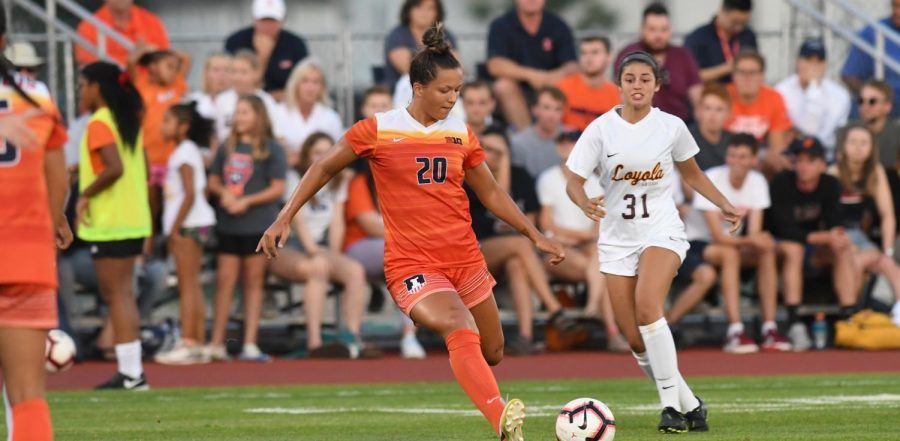 Junior Makena Silber kicks the ball during a previous season's game against Loyola. Silber secured a goal late in the game against Purdue to win 1-0 on Thursday.