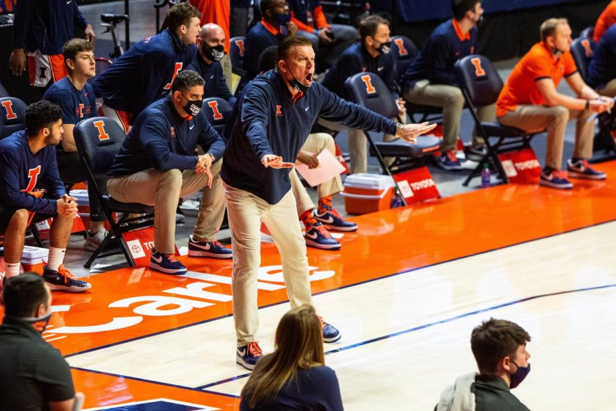 Brad+Underwood+yells+during+the+game+against+Iowa+on+Jan.+29+at+State+Farm+Center.+The+Big+Ten+has+been+widely+considered+the+best+conference+in+the+country+all+season%2C+yet+Michigan+is+the+only+Big+Ten+team+to+advance+to+the+Sweet+16+in+the+NCAA+tournament.