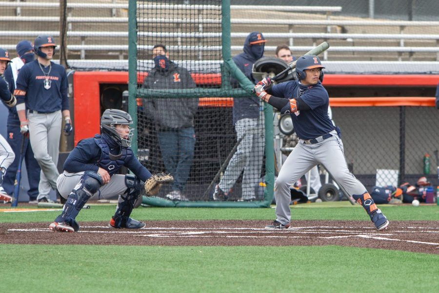 Sophomore Branden Comia prepares to swing during practice on Feb. 26. The Illinois baseball team will face Ohio State this weekend.