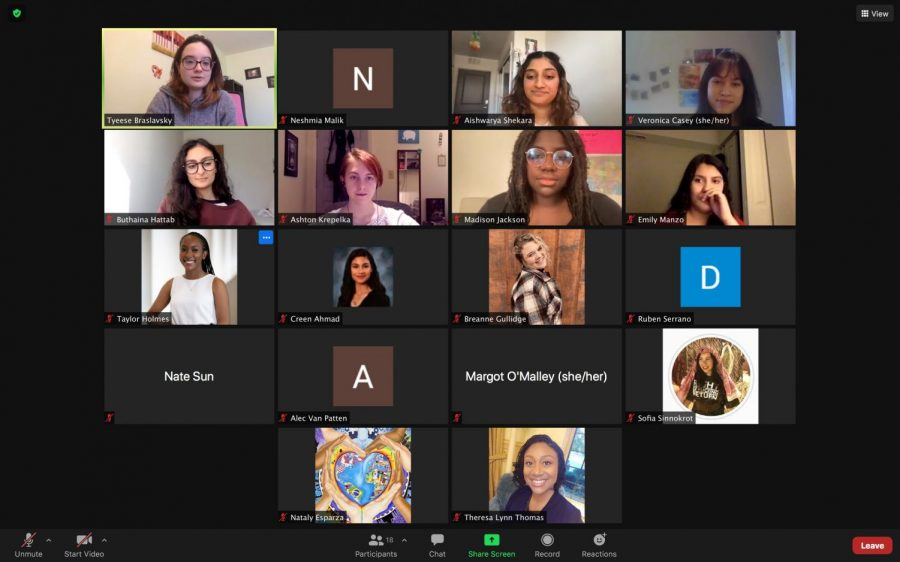 A screenshot is taken during the University's Student Advocacy Coalition zoom meeting to recognize women in leadership roles. During Women's History Month, the RSO has been discussing the topic of intersectionality.