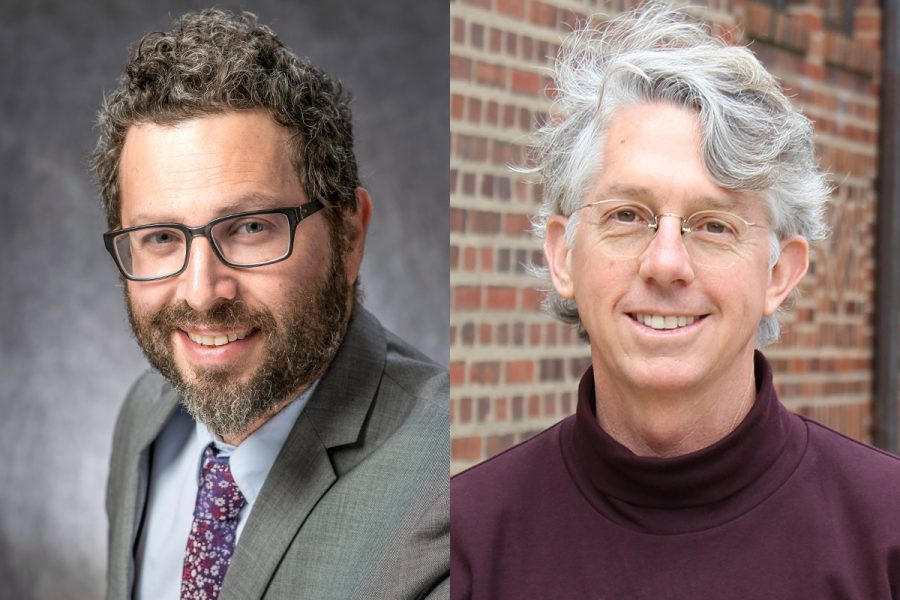 Gabriel Solis, professor in FAA, and Glen Worthey, associate director for HathiTrust Research Center, pose for headshots. The researchers received grants to help advance their efforts in digital jazz studies and artificial intelligence, respectively.