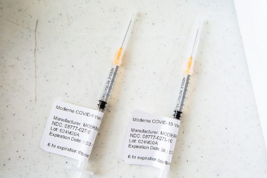 Two+Moderna+COVID-19+vaccines+wait+to+be+used+at+the+Church+of+the+Living+God+on+Feb.+20.+The+county+has+administered+80%2C079+dses+of+the+vaccine.
