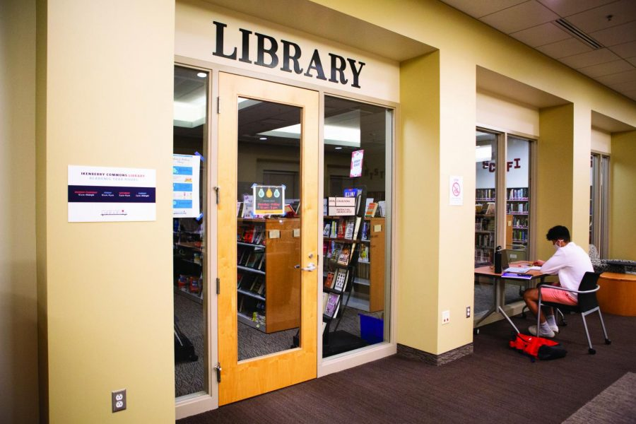 The Ikenberry Library sits on the second floor of the Student Dining and Residential bulding on Tuesday night. Due to the COVID-19 pandemic, the library has moved activities like their book club online as well as their checkout process.
