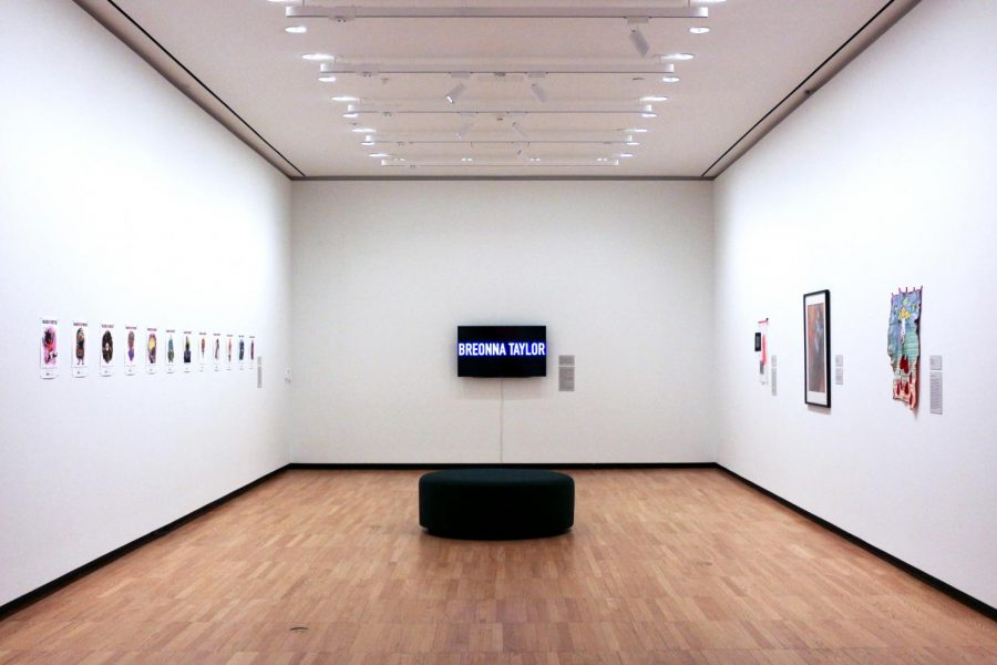The #BLACKMATTERS art installation stands inside the Krannert Art Museum on Thursday. The installation was created by Stacey Robinson and John Jennings to emphasize the importance of Black lives.