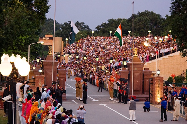 Authorities commence the evening flag lowering ceremony at the India-Pakistan International Border near Wagah in August 2017. Columnist Eddie believes that India is integral to Biden's Asia-related policy.