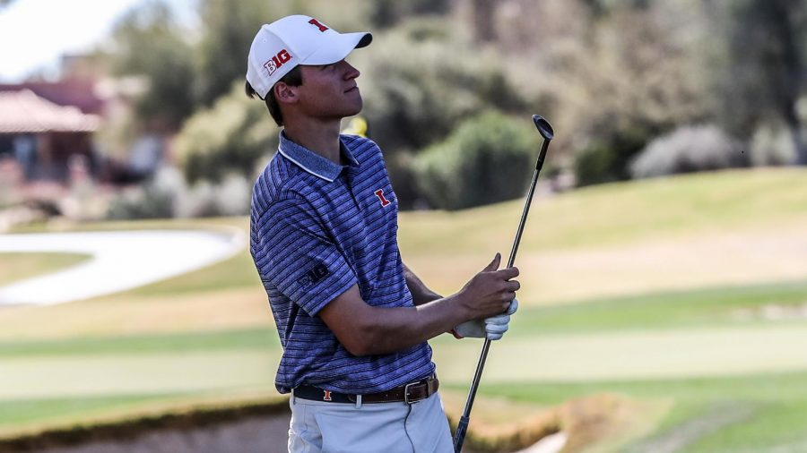 Junior+Adrien+Dumont+De+Chassart+smiles+after+completing+a+swing+during+a+match.+The+Illinois+men%E2%80%99s+golf+team+tied+for+fifth+at+the+National+Invitational+Tournament+in+Tucson%2C+Arizona+on+Sunday.