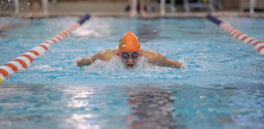 Junior Abigail Cabush competes in a butterfly event during competition. Cabush has been named the Illini of the Week after solid personal performances this weekend in the Big Ten Championships.