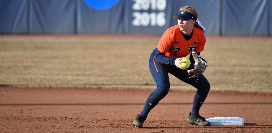 Junior Avrey Steiner fields a ball during competition. Steiner has been the most successful Illinois softball player so far this season, striking out only twice in 23 plate appearances in Florida.