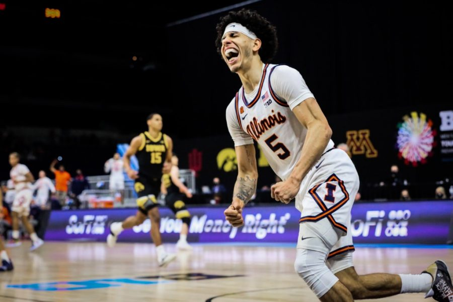 Freshman Andre Curbelo celebrates after scoring during the Big Ten semifinal match against Iowa. Curbelo is one of several freshmen who have shown promise this season.