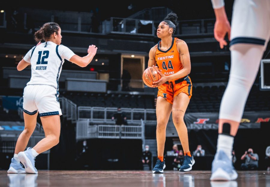 Sophomore+Kennedi+Myles+looks+to+shoot+during+game+against+Northwestern+March+10.+Though+the+team+suffered+many+losses+this+season%2C+the+Illini+hope+to+enter+the+Big+Ten+Tournament+with+a+higher+seed+next+year.+