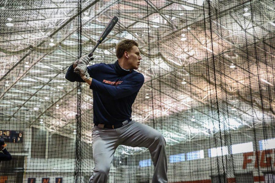 Cam McDonald takes batting practice during Illinois' team practice on Jan. 29.
