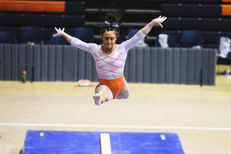 Senior Nicole Biondi performs her beam routine during the meet against Penn State on Jan. 31. The women's gymnastics team will travel to Georgia for the NCAA Regionals starting Thursday.