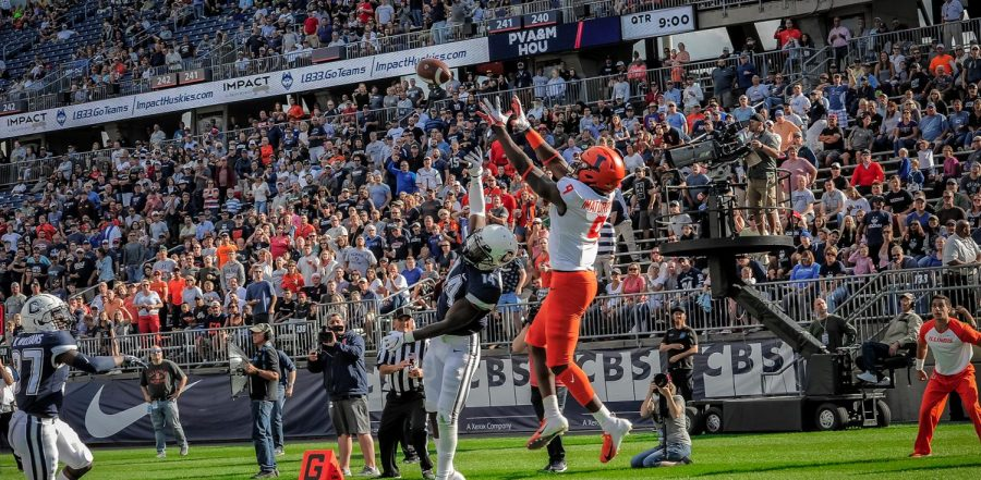 Redshirt senior Josh Imatorbhebhe jumps to catch a pass during the game against UConn on Sept. 7, 2019. Imatorbhebhe is now training for the NFL draft.