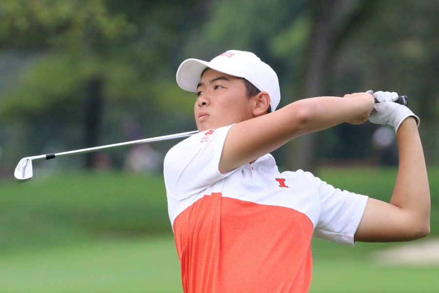 Jerry Ji completes a swing during the Illinois Golf vs. OFCC in Champaign, IL on Sept. 22, 2019. Ji got his first career win at the Louisiana Classics tournament, and the Illini came in first place overall.