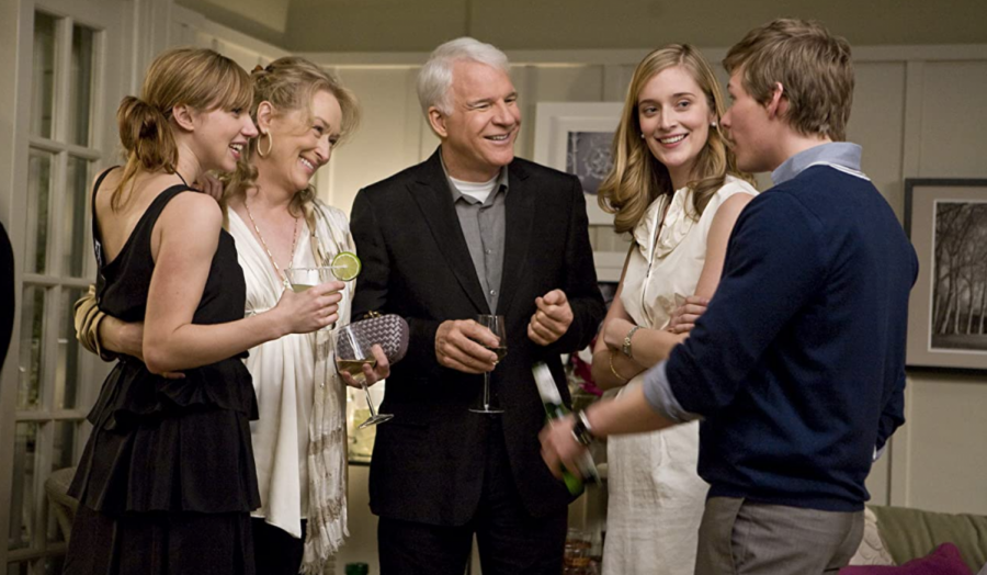 """Steve Martin, Meryl Streep, Zoe Kazan, Hunter Parrish, and Caitlin FitzGerald star in """"It's Complicated. The film was released on Christmas Day in 2009."""