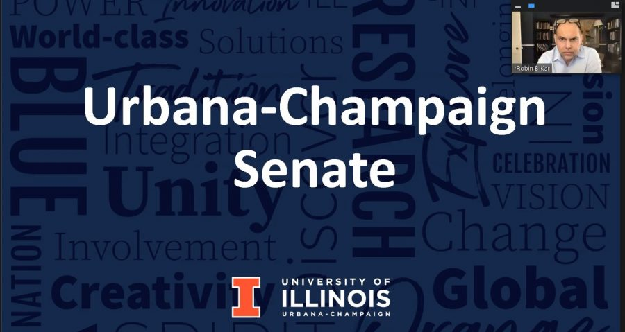 Rob Kar directs the UI senate meeting on Monday, March 8. The senate voted to extend the test-optional admissions policy through 2023.