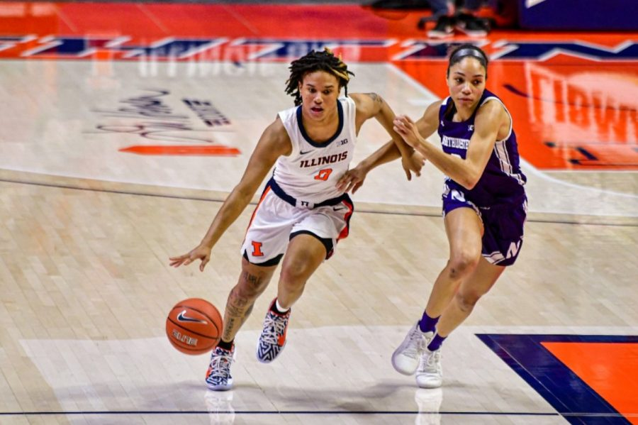 Junior J-Naya Ephraim pushes forward towards the basket during the game against Northwestern on Feb. 24. The Illini will play Northwestern again if they beat Wisconsin in the first round of the Big Ten Tournament.