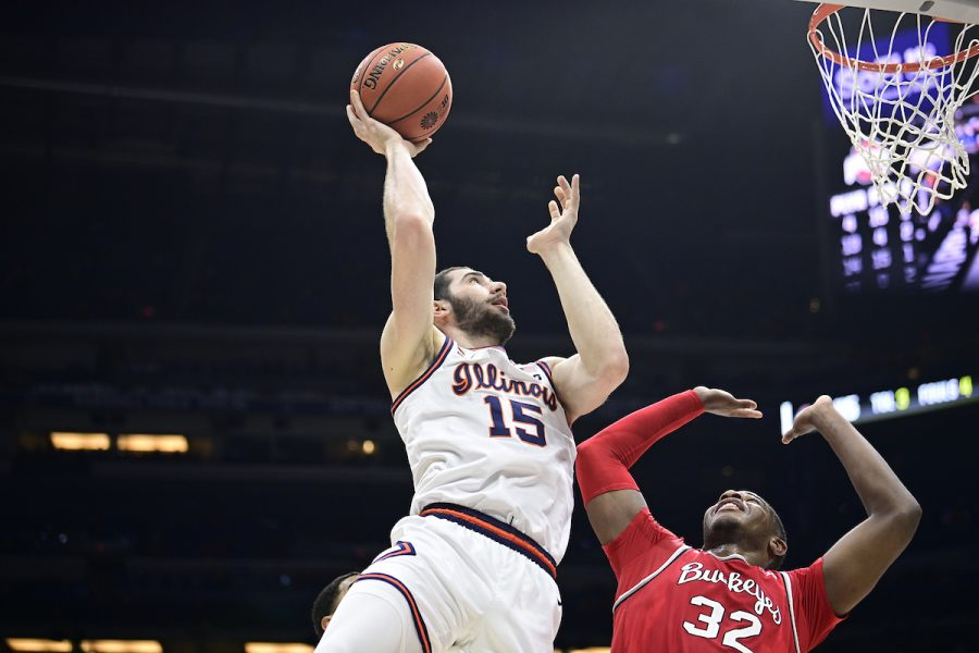 Junior Giorgi Bezhanishvili goes up for a shot during the Big Ten Tournament championship game at Lucas Oil Stadium on March 14. Bezhanishvilis 12 points off the bench helped the Illini win their first conference title since 2005.