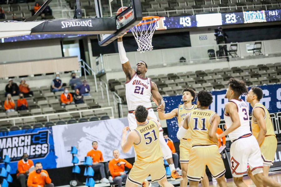 Sophomore Kofi Cockburn goes up for a layup in the second half of the game against Drexel on March 19 at Indiana Farmers Coliseum. The Illini won 78-49 and advanced to the Round of 32.