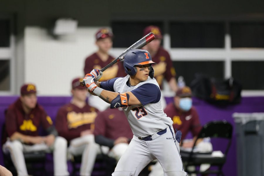 Branden Comia prepares for a pitch during the game against Minnesota at U.S. Bank Stadium on March 13. The Illini won the series against the Golden Gophers and are now 4-4 this season.