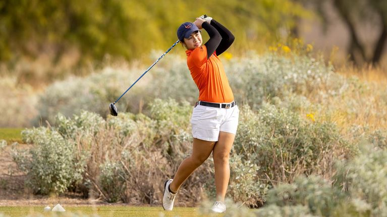 Isabel Sy swings her club during a tournament in Florida in early February. The women's golf team will soon travel to South Carolina to compete in the Briar's Creek Collegiate Invitational starting on Monday.