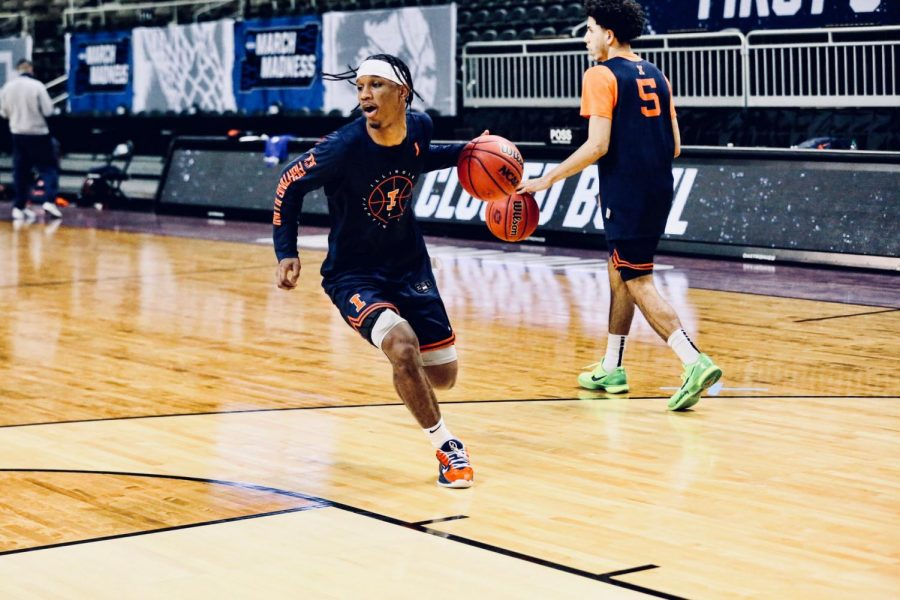 Senior Trent Frazier dribbles the ball during a practice on March 17 in Indianapolis, Indiana. The Illini open their NCAA tournament campaign with a meeting with the 16-seeded Drexel Dragons on Friday.