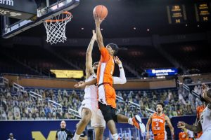Trent Frazier goes up for a layup against Michigan on March 2. Frazier scored 22 points in the Illini's 76-53 win.