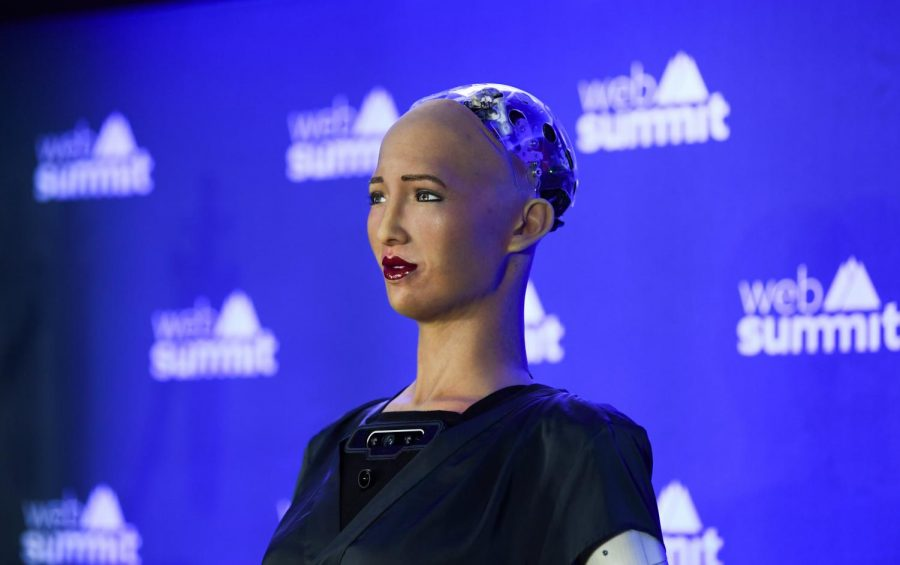 A+female+robot+named+Sophia+is+presented+at+a+press+conference+during+Web+Summit+2019+in+Lisbon%2C+Portugal+on+Nov.+6%2C+2019.+Columnist+Andrea+Martinez+argues+that+the+abilities+of+artificial+intelligence+is+over+exaggerated+by+fear+mongers.+