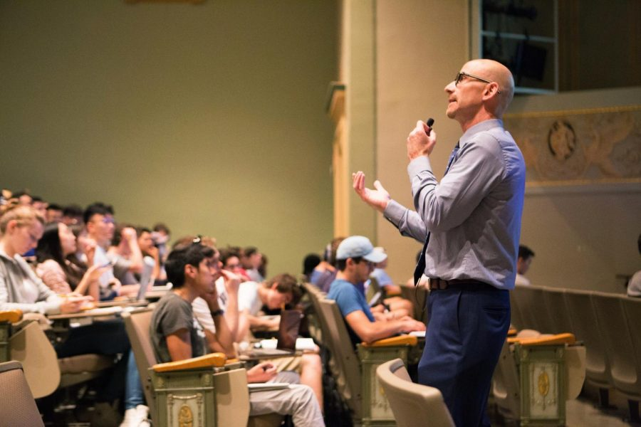 Professor Mitch Fisher lectures to his ACCY 201: Accounting and Accountancy I class in Lincoln Hall Theater on Aug. 29, 2019. Students have experienced Zoom fatigue and are starting to fill their fall schedules with more in person classes.