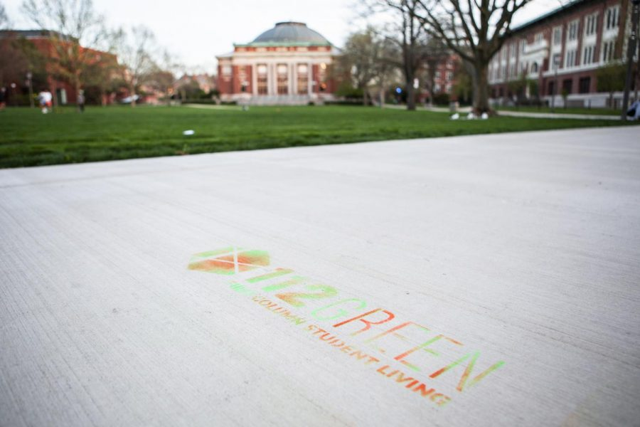 Spray-painted+advertisements+from+First+Column+Student+Living+line+the+Main+Quad+Tuesday+evening.+The+chalked+walkways+have+upset+many+individuals+in+the+student+body.%0A