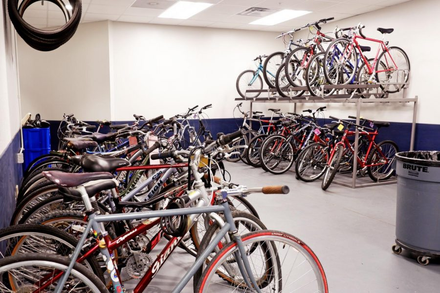 A row of bikes is lined up inside the Campus Bike Center on April 6. The University Facilities and Services teamed up with Champaign County Bikes to host a bicycle census on Wednesday.
