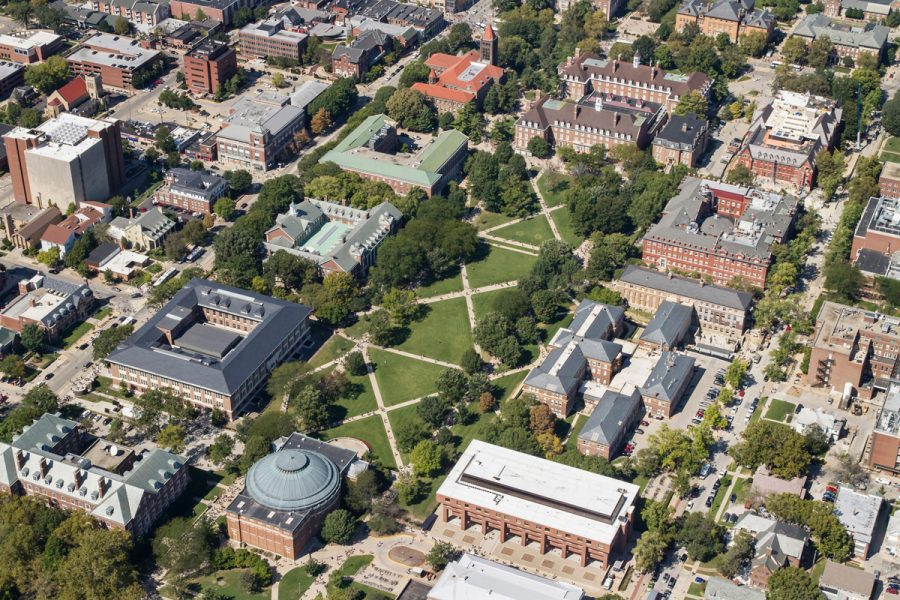 Aerial of Main Quadrangle looking northwest including Foellinger Auditorium, Gregory Hall, Lincoln Hall,  the English Building, Henry Administration, the Illini Union, Harker Hall, Noyes Laboratory, Davenport Hall, Foreign Language building.