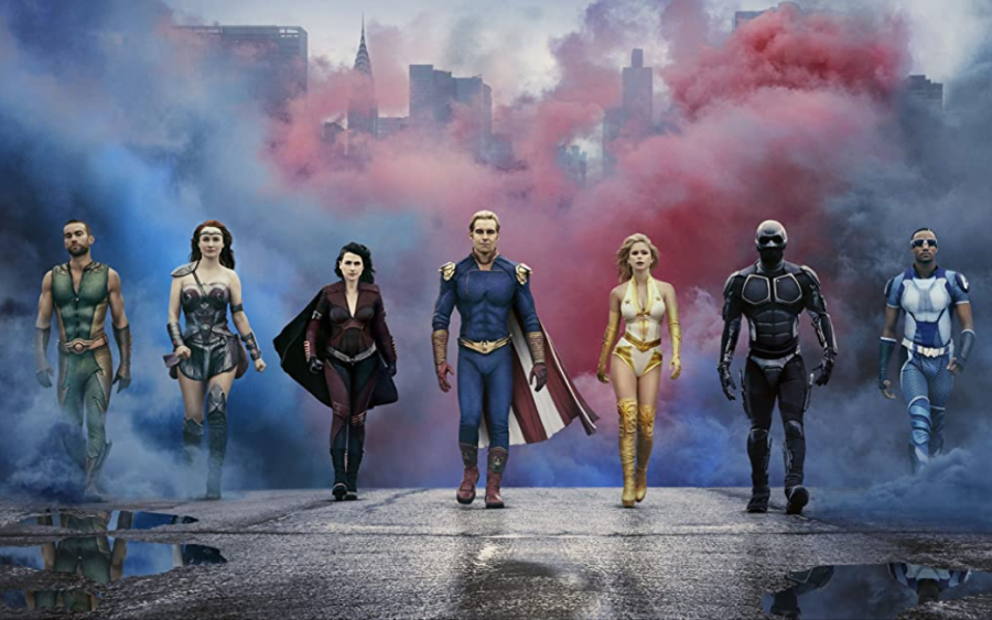 """Dominique McElligott, Antony Starr, Jessie T. Usher, Chase Crawford, Aya Cash and Erin Moriatry star in """"The Boys."""" Columnist Matthew Krauter argues that the show highlights the dark sides of superheroes in a way that the Marvel franchise has not."""