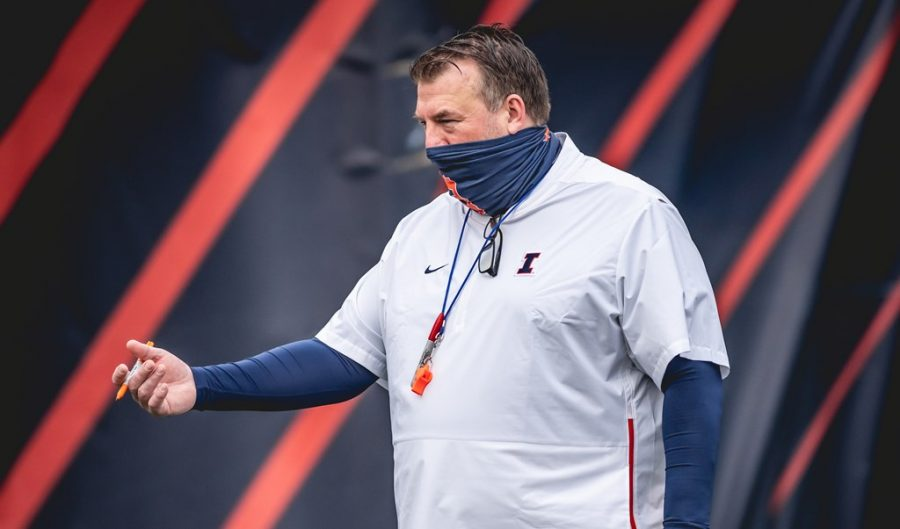 Illinois head coach Brett Bielema directs his players during Spring practice on March 23. Bielema has now completed 12 spring practices, with the spring game scheduled for Monday.