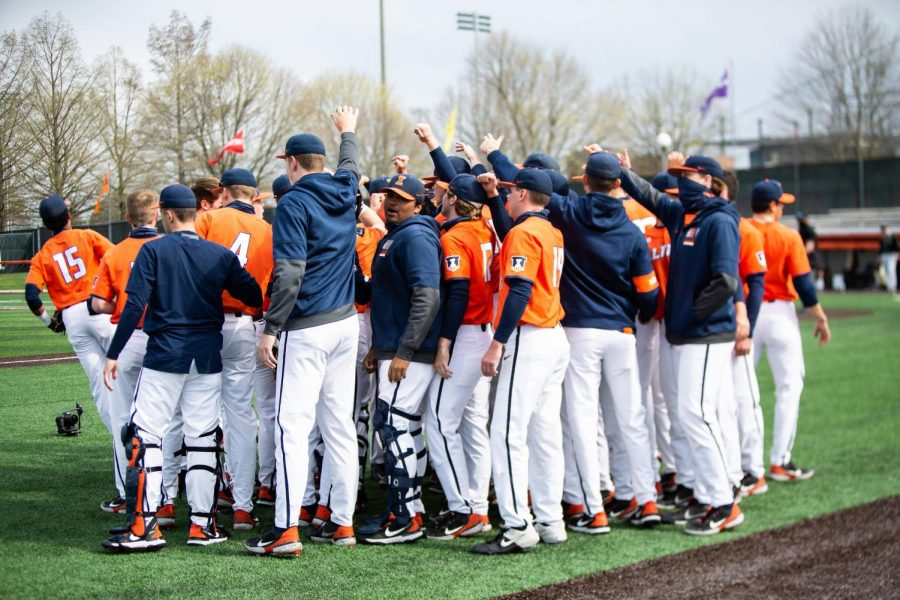 The Illinois baseball team huddles during the game against Purdue April 17 at Illinois. The Illini swept the Boilermakers this weekend and threw a no-hitter in the series finale.