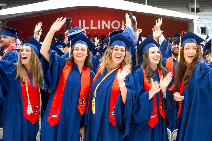 Illinois graduates celebrate during commencement from a previous year.