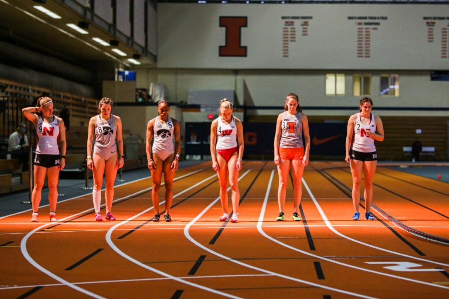 An Illinois distance runner is lined up on the starting line at the Illini B1G Multi-Meet Jan 30. The Illinois track & field team will travel to Bloomington, Indiana, for the second Big Ten Invitational this weekend.