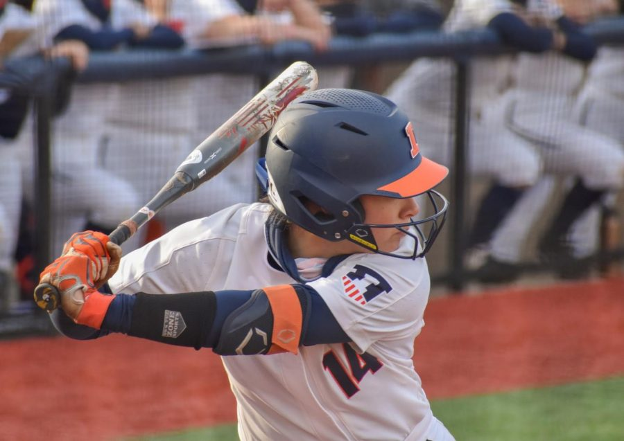 Sophomore Kelly Ryono bats at the softball game against Purdue on April 16.  Although the team did not win, they gave it their best shot.