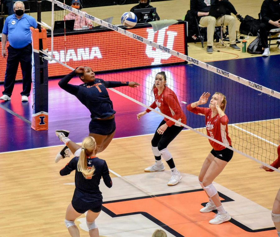 Sophomore+Kennedy+Collins+jumps+to+spike+a+ball+in+the+game+against+Indiana+on+March+27.+The+Illinois+volleyball+team+lost+to+Purdue+yesterday%2C+but+redeemed+themselves+with+a+3-2+win+today.+