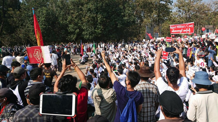 The Student Union, along with many teachers, protest against a military coup in front of the State Government Office in Hpa-An, Kayin State, Myanmar on Feb. 9. Columnist Eddie Ryan argues that suffering Burmese deserve stronger solidarity.
